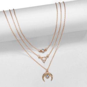 Jewelry - (FINAL) Golden 3 Layer Bohemian Crescent Necklace